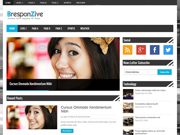 BresponZive Free WordPress Themes Download